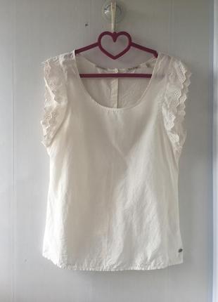 Блуза топ, шелковая блузка с рюшем и прошва, натуральный шёлк, madison scotch