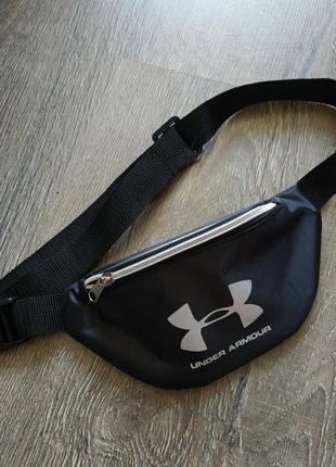 Молодежная сумка бананка черная с серебристым under armour