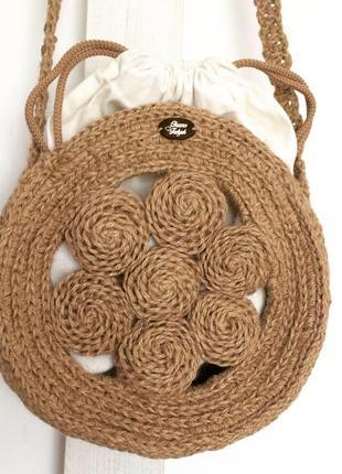 Сумка еко кругла плетена джутова вязана еко