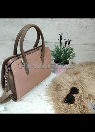 Классическая сумка на три отделения от david jones cm4013t розовая