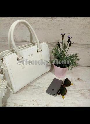 Классическая сумка на три отделения от david jones cm4013t белая