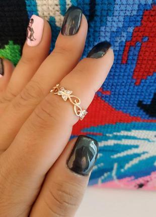Кольцо, каблучка, розмір 18, позолота 14к,медицинское золото/медичне золото