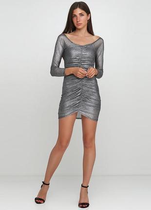 Серебристое повседневное платье missguided блестящее