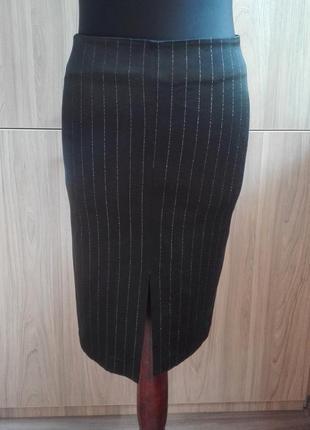Атласная юбка-карандаш с разрезом в полоску  jus de pommes exclusive, юбка карандаш