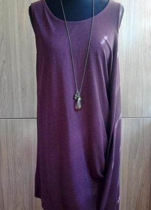 Туника в бохо стиле, майка-платье ichi цвет шоколадный/гнилая вишня, можно для беременных