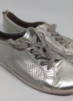 Кожаные туфли 41 размер серебро