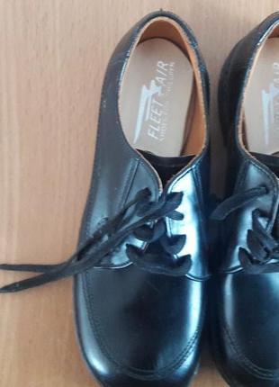 Кожаные детские школьные туфли fleet air shoes for children