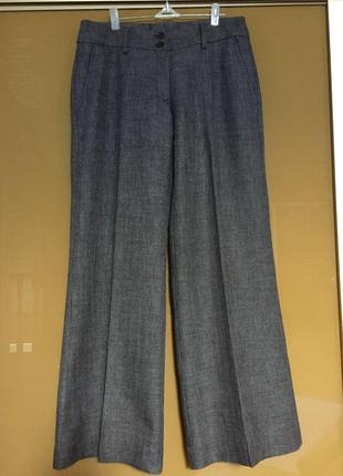 Стильные широкие брюки кюлоты штаны классика с карминами h&m