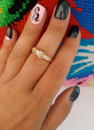 Кольцо, каблучка, розмір 19, позолота 18к,медицинское золото/медичне золото