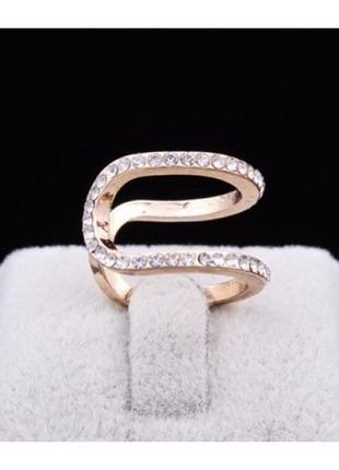 Стильное золочённое кольцо в стразах, не замкнутое, новое! арт. 8037