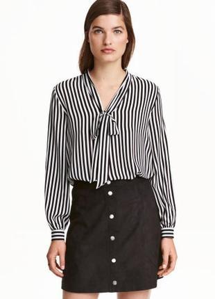 Cтильная базовая полосатая рубашка блуза с бантом