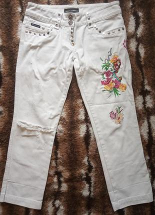 Dolce & gabbana белые укороченные джинсы