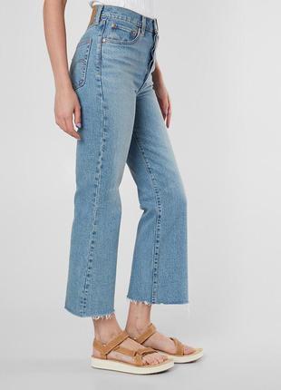 Крутые джинсы кюлоты, укороченые с бахромой, высокая талия l