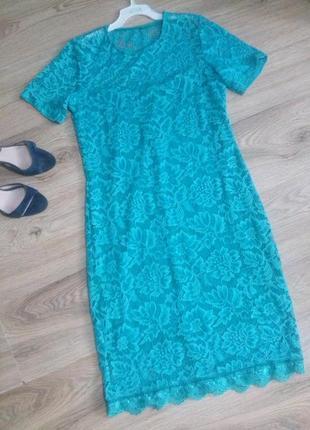 Платье ажурное бирюзовое