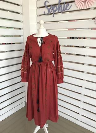 Платье вышивка красное zara3 фото