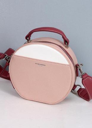 Клатч, сумка через плечо кросс-боди david jones 5916 розовый с белой вставкой