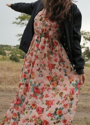 Сарафан в цветочный принт макси в пол