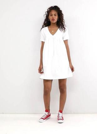 Актуальное белое хлопковое платье свободного кроя asos design коллекция 2019