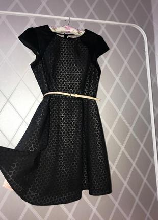 Платье вечернее дизайнерское сердца черное и беж + пояс/ 14 xl