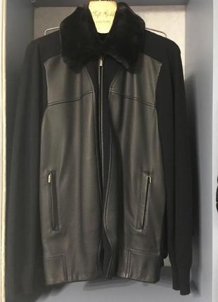 Итальянская кожаная куртка zilly 50 р. с кашемиром и мехом бобра