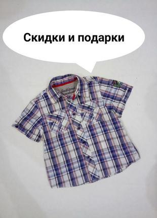 18-23 мес. шведка - рубашка с коротким рукавом в клетку matalan