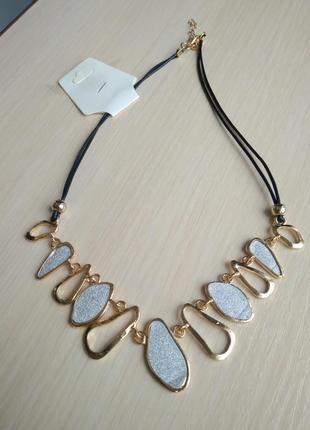 Распродажа украшений! красивое ожерелье колье подвеска золотая с шиммером с блеском