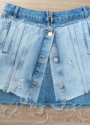 Джинсовая юбка zara синяя голубая пуговицы