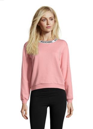 Новый оверсайз свитшот moschino свитер толстовка розовый l 100% хлопок