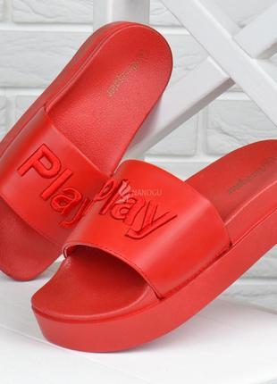 Шлепанцы женские на платформе play красные облегченные