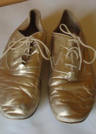 Туфли кожаные на шнурках золотистые massimo dutti2 фото