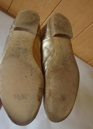 Туфли кожаные на шнурках золотистые massimo dutti4 фото