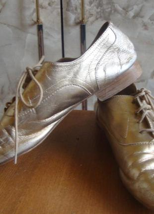 Туфли кожаные на шнурках золотистые massimo dutti3 фото