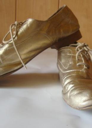Туфли кожаные на шнурках золотистые massimo dutti6 фото