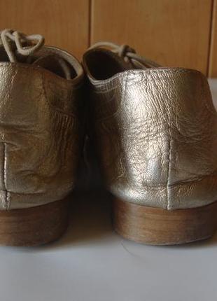 Туфли кожаные на шнурках золотистые massimo dutti7 фото
