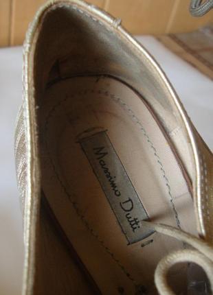 Туфли кожаные на шнурках золотистые massimo dutti8 фото