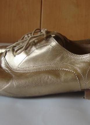 Туфли кожаные на шнурках золотистые massimo dutti9 фото