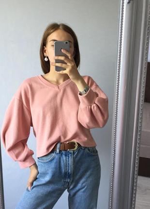 Розовый худи с объёмными рукавами
