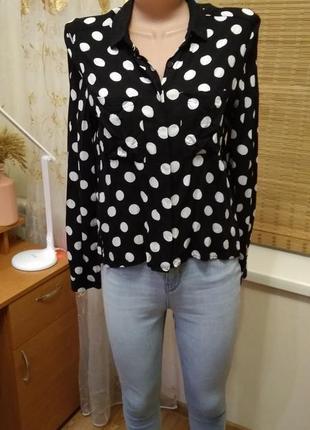 Актуальная блуза в горох из вискозы (34-38)