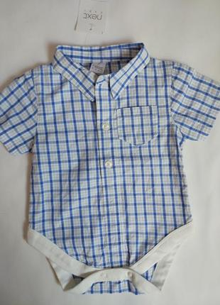 Классный хлопковый бодик-рубашечка на малыша 0-3 мес.,next