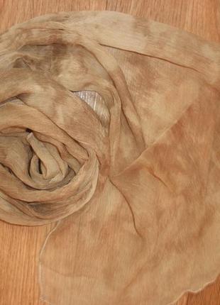 Нежный шелковый шарф marc rozier paris 100% жатый шелк /135*35 см