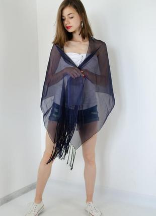 Bhs легкий темно-синий платок с переливом и бахромой, палантин, пляжный шарф накидка
