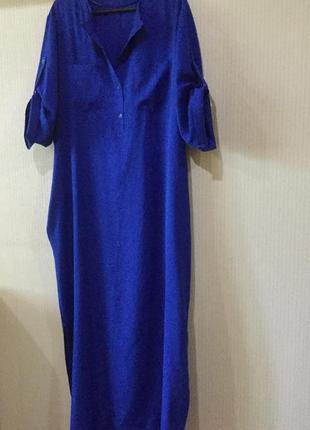 Шикарное платье- рубашка оверсайз, ткань с фактурой льна.