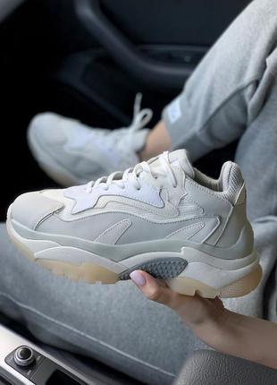 Шикарные женские кроссовки ash addict sneakers grey/beige  😍 (весна/ лето/ осень)