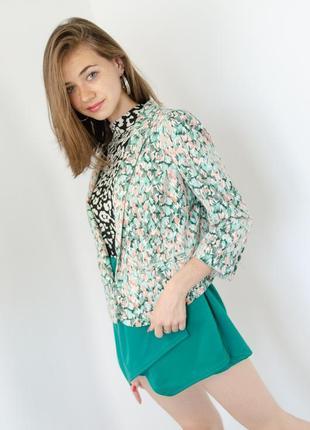 H&m нежный блейзер в абстрактный цветочный принт с рукавом 3\4, пиджак, жакет