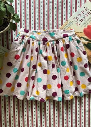 Яркая юбка вельвет в горох marks&spencer на 6-7 лет