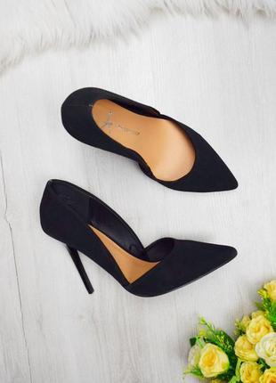 Супер чёрные лодочки туфли под нубук