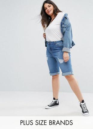 Крутые рваные джинсовые шорты, бриджи с подворотом