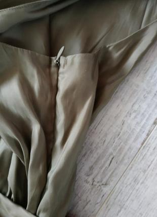 Нарядное стильное и легкое платье от caroline biss в цвете хаки с бантом,длина миди5 фото