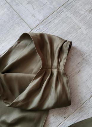 Нарядное стильное и легкое платье от caroline biss в цвете хаки с бантом,длина миди6 фото