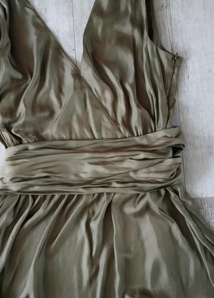 Нарядное стильное и легкое платье от caroline biss в цвете хаки с бантом,длина миди7 фото